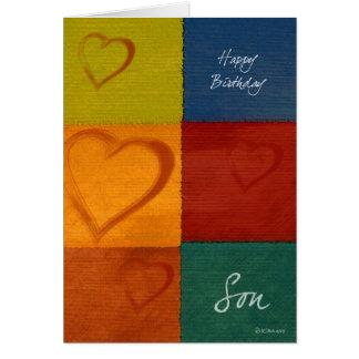 Patchworkfärg- och hjärtasons kort för födelsedag