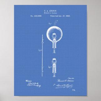 Patenterad konst för Edison elektriska lampa 1880 Poster