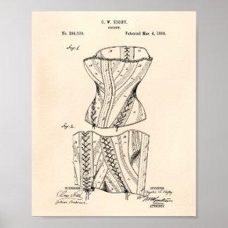 Patenterad konst gammala Peper för korsett 1884 Poster
