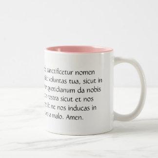 Pater Noster eller den vår farbönen i latin Två-Tonad Mugg