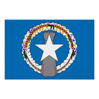 Patriotisk affisch med flagga av nordliga Mariana