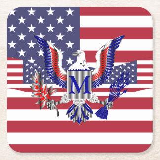 Patriotisk amerikanska flaggan underlägg papper kvadrat