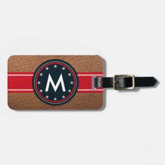 Patriotisk bagagemärkre för läder med monogramen bagagebricka