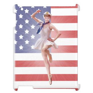 Patriotisk Ballerina och amerikanska flaggan iPad Mobil Fodral