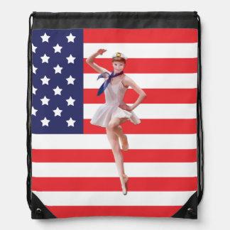 Patriotisk Ballerina och USA flagga Gympapåse