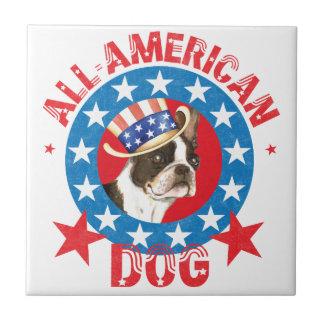 Patriotisk Boston Terrier Kakelplatta