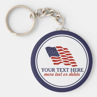 Patriotisk Fourth av anpassningsbar för Juli Rund Nyckelring
