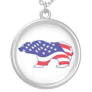 Patriotisk-Grizzly Silverpläterat Halsband
