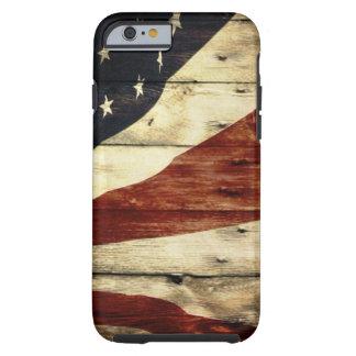 Patriotisk GrungewoodgrainUSA amerikanska flaggan Tough iPhone 6 Skal