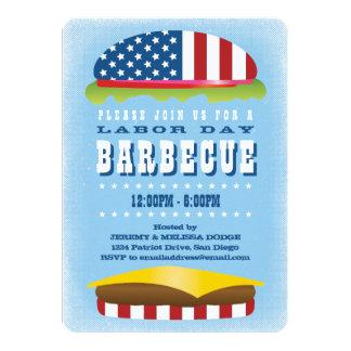 Patriotisk hamburgaregrillfest för arbets- dag 12,7 x 17,8 cm inbjudningskort