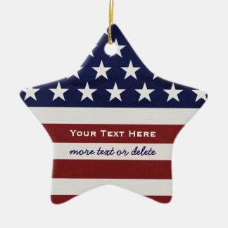 Patriotisk Juli 4th för amerikanUSA flagga jul Julgransprydnad Keramik