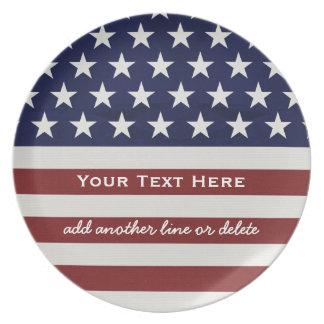 Patriotisk Juli 4th för amerikanUSA flagga Tallrik