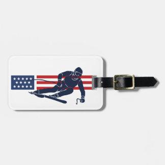 Patriotisk märkre för skidåkningdesignbagage bagagebricka