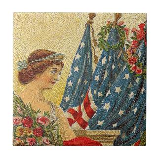 Patriotisk minnesdagen för vintage kakelplatta