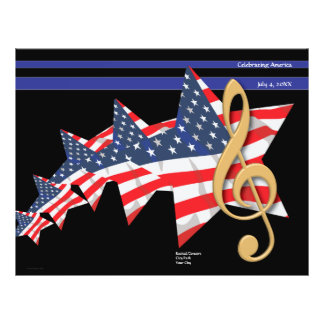 Patriotisk musikprogramanpassade reklamblad 21,5 x 30 cm
