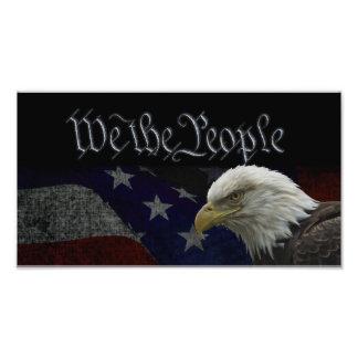 Patriotisk örn & flagga fotografiska tryck