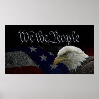 Patriotisk örn & flagga poster