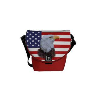 Patriotisk örn- och USA flaggakortkortmessenger ba Kurir Väskor