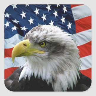 Patriotisk örnamerikanska flaggan fyrkantigt klistermärke