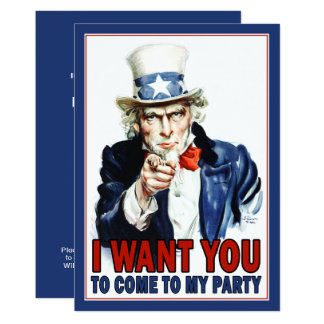 Patriotisk partyinbjudan: VintageUncle Sam 12,7 X 17,8 Cm Inbjudningskort