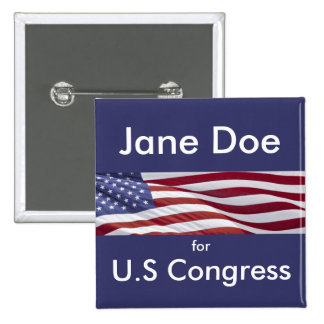 Patriotisk politisk kampanj standard kanpp fyrkantig 5.1 cm