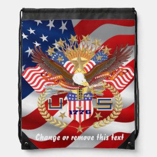 Patriotisk ryggsäck? Springer? Beskåda om design Gympapåse