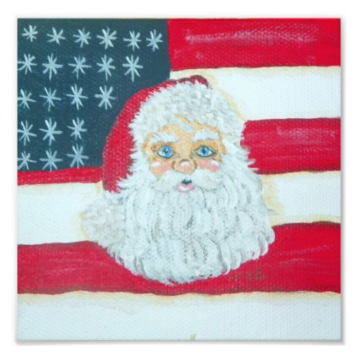 Patriotisk Santa affisch Konstfoto