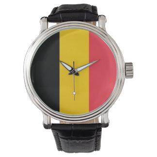 Patriotisk speciell klocka med flagga av Belgien