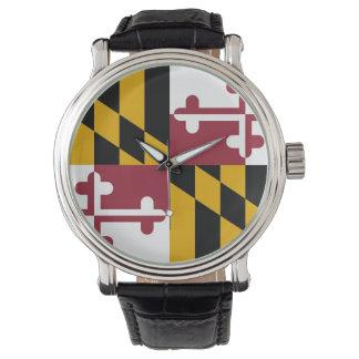 Patriotisk speciell klocka med flagga av Maryland