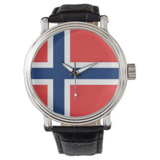 Patriotisk speciell klocka med flagga av norgen
