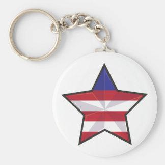 Patriotisk stjärna rund nyckelring