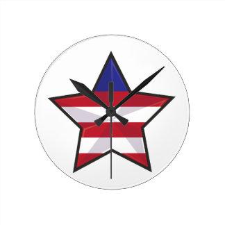 Patriotisk stjärna rund klocka