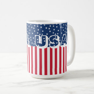 Patriotisk USA stars och stripesamerikanska Vit Mugg
