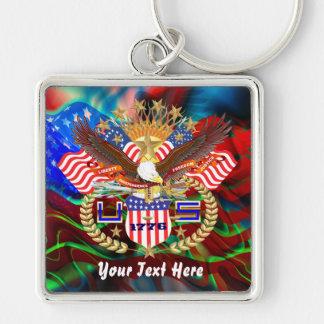 Patriotiska 4th Juli beskådar om design Fyrkantig Silverfärgad Nyckelring