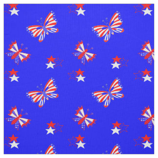 Patriotiska fjärilar och stjärnor tyg