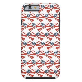 Patriotiska hjärtor 4th för flagga för tough iPhone 6 case