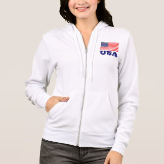 Patriotiska kvinna hoodie med amerikanska flaggan