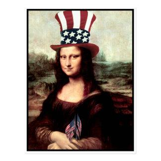 Patriotiska Mona Lisa - redo för independence day Vykort