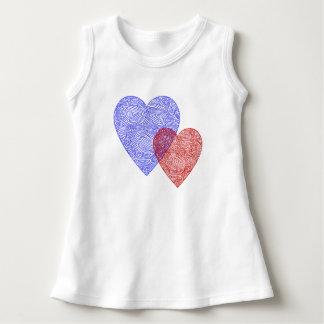 Patriotiska Scribbleprint hjärtor T Shirt