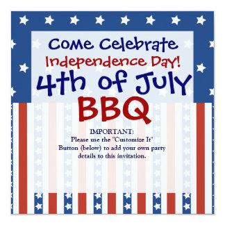 Patriotiska stjärnarandar 4th av Juli inbjudningar