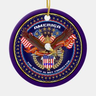 Patriotiskt eller veteran beskåda julgransprydnad keramik