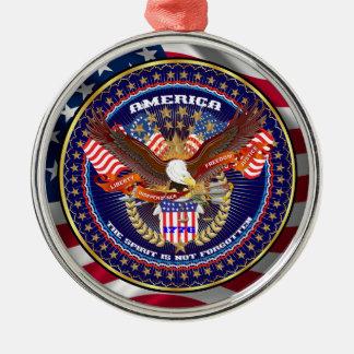 Patriotiskt eller veteran beskåda julgransprydnad metall