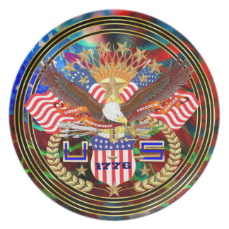Patriotiskt eller veteran beskåda nedanföra tallrik