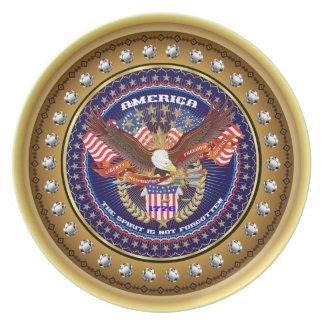 Patriotiskt eller veteran beskåda tallrik