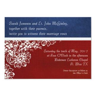 Patriotiskt militärt rött vit- och blåttbröllop 12,7 x 17,8 cm inbjudningskort
