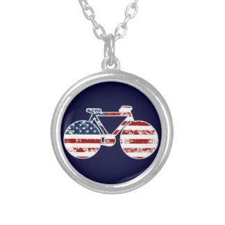 patriotiskt USA för flagga cykla Silverpläterat Halsband
