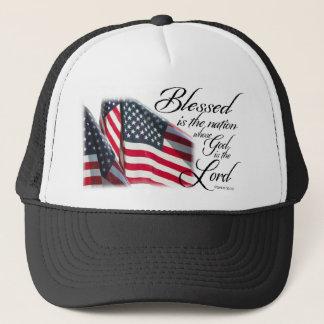 Patriotiskt välsignat är nationen truckerkeps