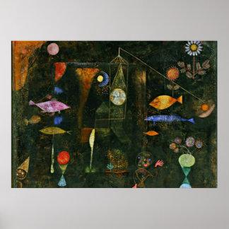 Paul Klee konst: Fiskmagi, berömd Klee målning Poster