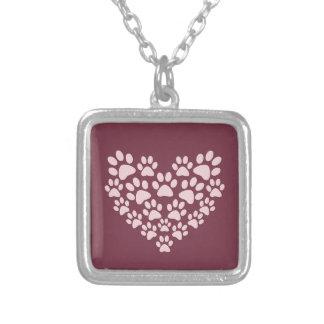 Pawprint hjärtahalsband halsband med fyrkantigt hängsmycke