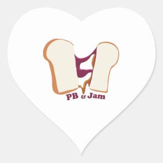 PB & sylt Hjärtklistermärken